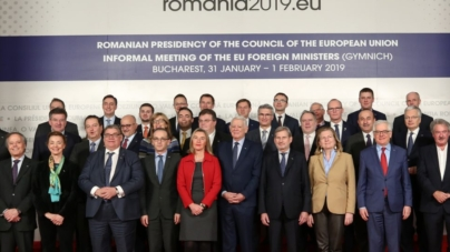 The acting Minister Gent Cakaj attends the informal meeting of EU Foreign Ministers